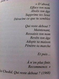 Inspiration Poème Andrée Chédid